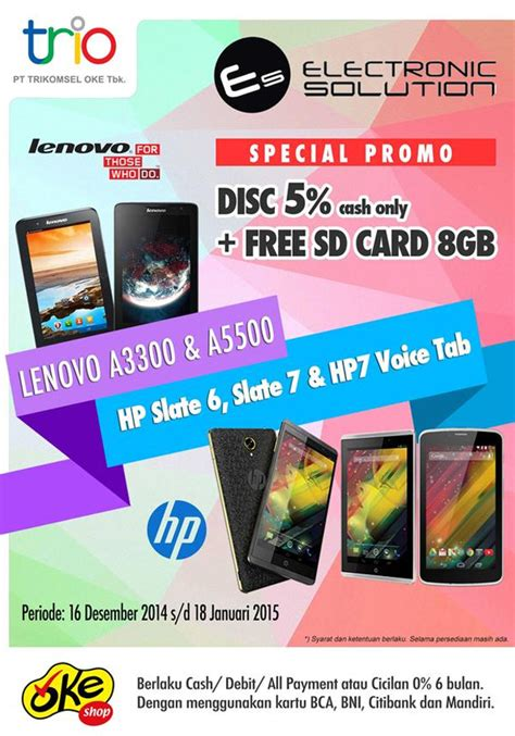 Hp Lenovo Okeshop promo diskon spesial tablet lenovo dan hp gratis sd card di okeshop dan electronic solution