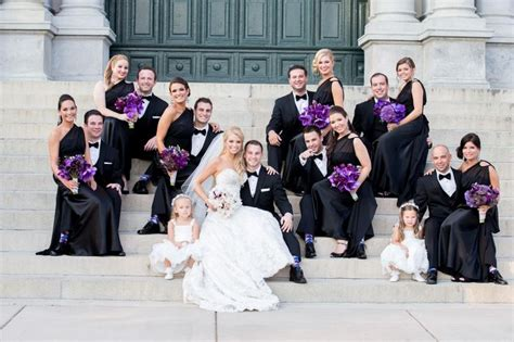 purple black  white wedding party wedding ideas