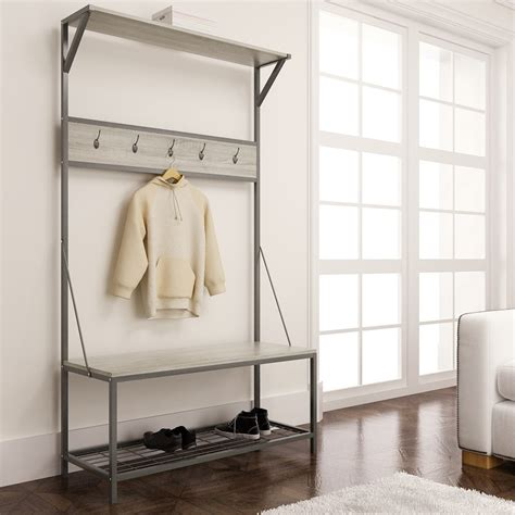 Bench With Hooks And Storage Oak Metal Entryway Hall Tree With Storage Stabbedinback