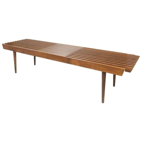 wood slat benches slatted wood bench in the style of george nelson for