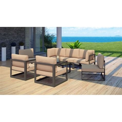 modway fortuna 8 outdoor sofa set in brown and mocha
