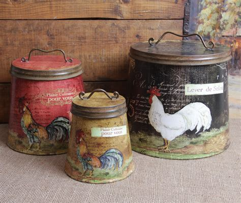 chicken home decor shabby country chic rooster tin canister set home decor ebay
