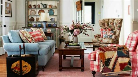Shabby Chic Decor Style For Living Room With Floral Chair Also Worn Blue Sofa. Furniture