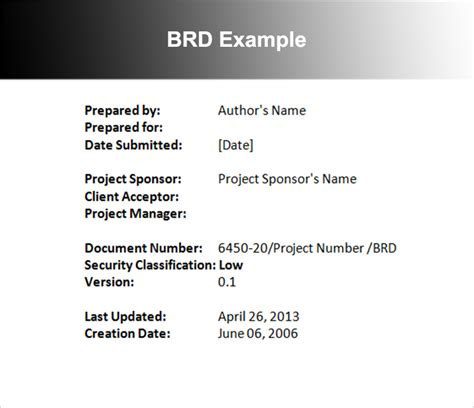 brd template 11 business requirements documents free premium
