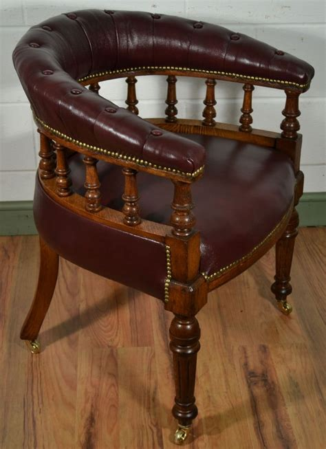 Oak High Chair Victorian Oak Captains Chair With Antique Burgundy Leather