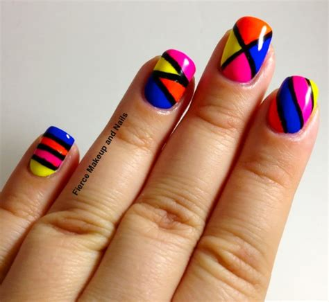 neon pattern nails fabulous and eye catching neon nails art designs