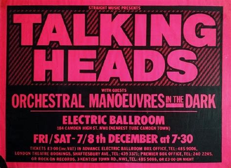 electric ballroom layout 1979 talking heads poster for electric ballroom in camden