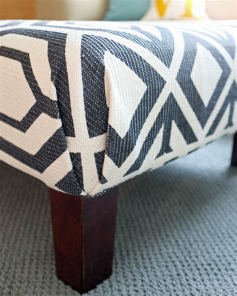 how to cover an ottoman with fabric no sew diy rug ottoman