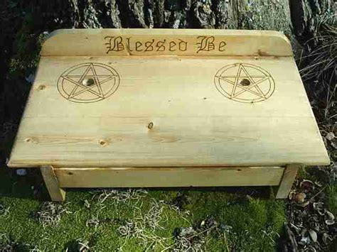 blessed be wiccan altar table with pentacles by dragonoak