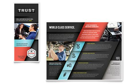 automotive templates auto mechanic brochure template design