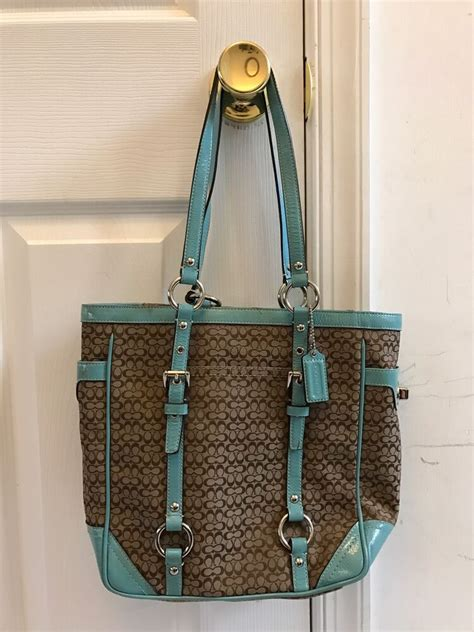 Coach Bag Turquoise by Coach F12344 Gallery Signature Cc Khaki Brown Canvas With Turquoise Trim Bag Ebay