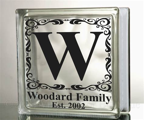 Transfer Letters To Glass Monogram Decal For Glass Blocks Personalized Custom Tile