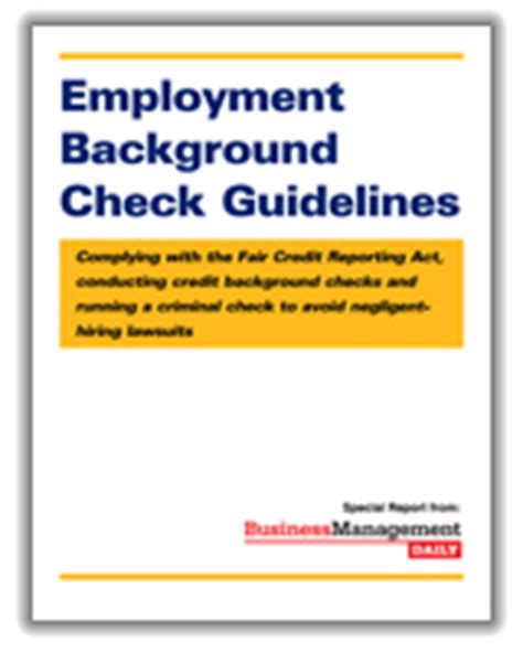 Credit Background Check For Employment Free Reports Business Management Daily
