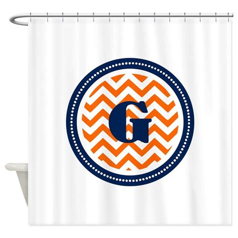 orange and navy curtains orange navy shower curtain by themonogramstore