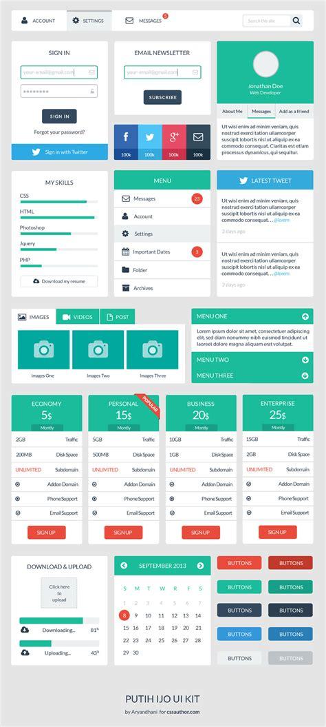 web ui layout free web user interface design kit psd
