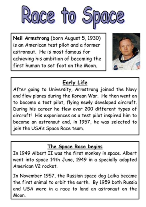 Neil Armstrong Biography Tes | neil armstrong reading comprehension and questions by
