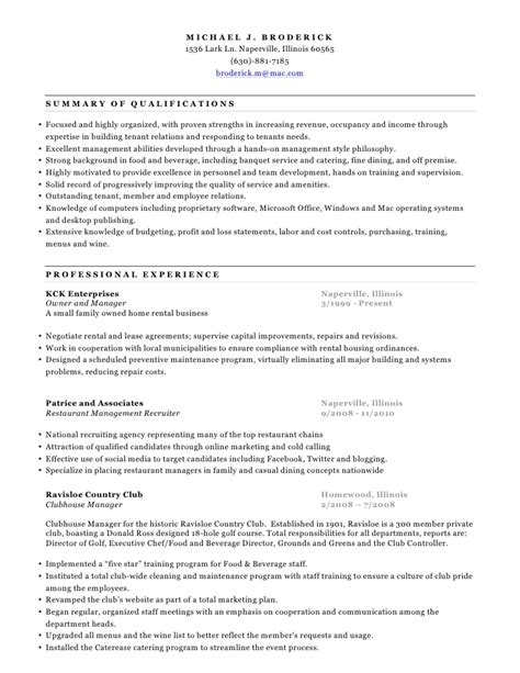 Clubhouse Manager Sle Resume by Michael Broderick Resume