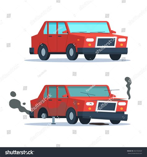 wrecked car before and after car sedan vehicle before after car stock vector 467292029