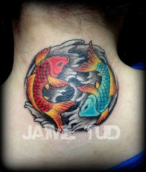 7 colorful koi neck fish tattoos