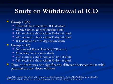 Detox Icd 10 by Implantable Cardioverter Defibrillators In Failure