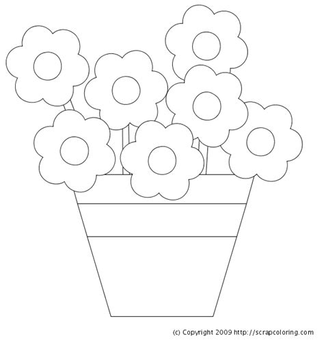 Flowers In Pot Coloring Page Flower Pot Coloring Pages