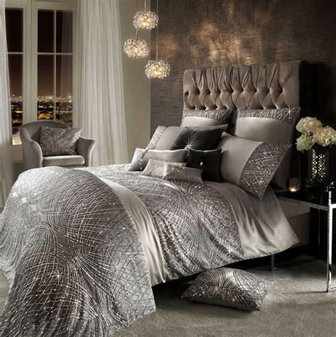 Duvet Cover King Sale Kylie Minogue Esta Sequin Satin Silver King Size Cotton 7