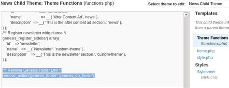 remove elegant themes link in footer how to remove footer link from genesis wordpress theme