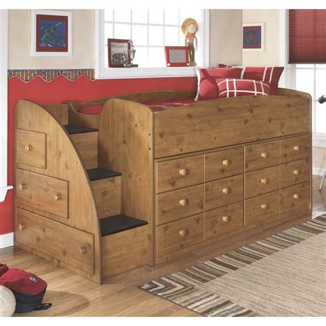 Stages Loft Bed by Stages 9 Drawer Wood Left Loft Bed In Brown