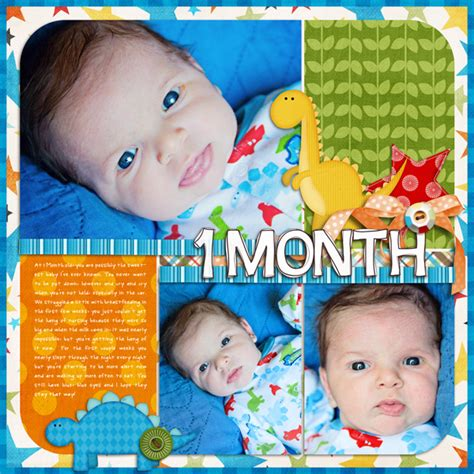 baby scrapbook layout exles finn 1 month sweet shoppe gallery