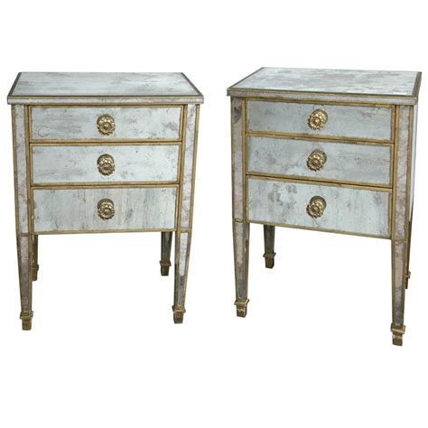 mirrored end tables with drawers pair of regency mirrored night end tables having three