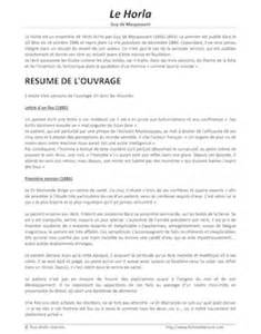 It Resume Sle by Le Horla De Maupassant Fiches De Lecture
