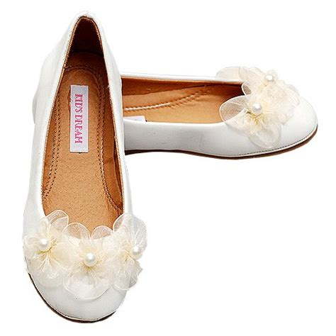 flower shoes cheap ivory flower pearl leather ballet flat shoes infant