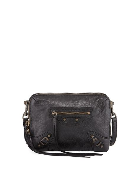 balenciaga classic reporter xs leather crossbody bag in black lyst