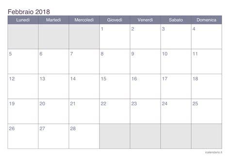 Calendario 2018 Febbraio Calendario Febbraio 2018 Da Stare Icalendario It