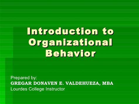 Suffolk Mba Organizational Behavior by Introduction To Organizational Behavior