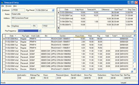 Payroll Section by Horticulture Information Within The Timecard