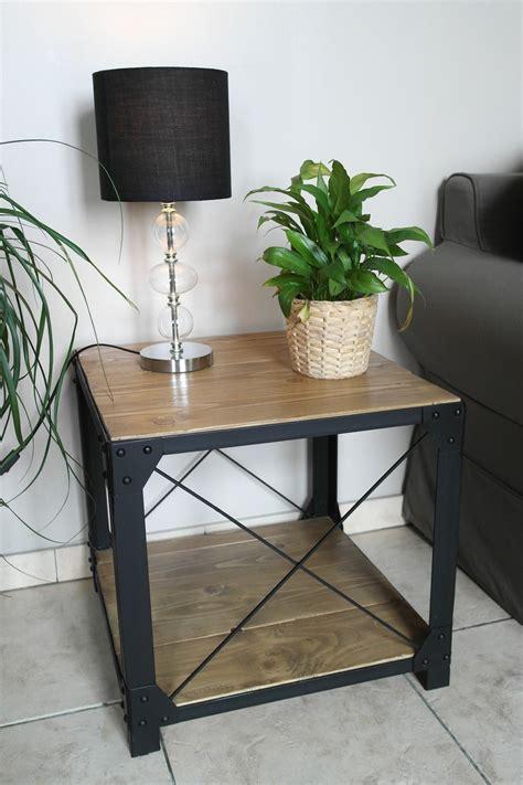 table basse style loft bois et acier meubles et
