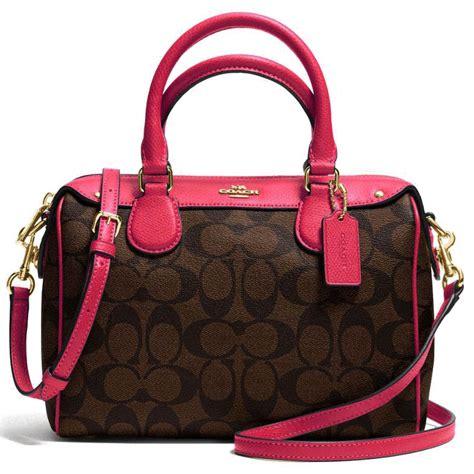 Coach Mini Brown Fuchsia spreesuki coach signature mini satchel crossbody bag brown pink ruby gold f36702
