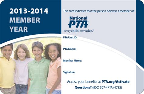 pta membership card template forms paperwork 15th district pta