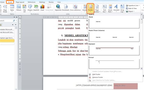 cara membuat header dan footer html membuat header footer di word