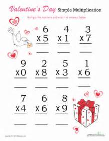 valentine s day simple multiplication worksheet