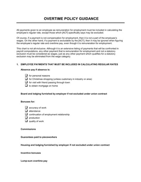 paid time policy template overtime policy guidance template sle form