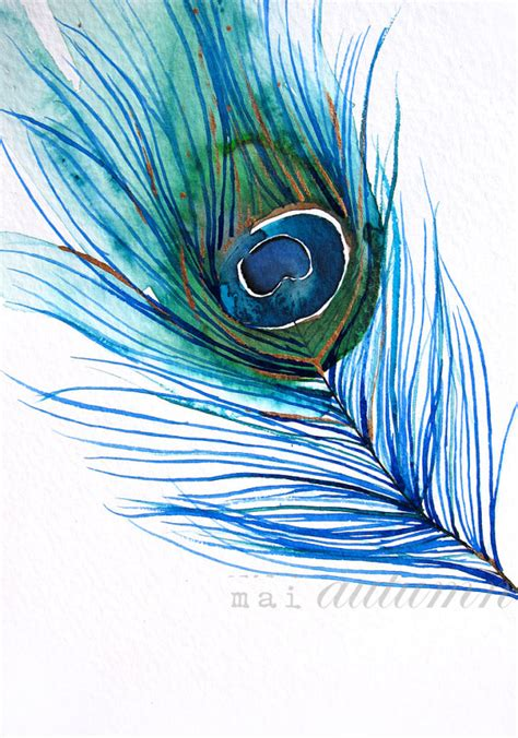 items similar to feather watercolor peacock feather i bird painting bright color 11x14