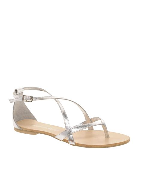 flat silver shoes connection raymond strappy flat sandals in metallic