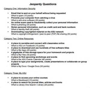 Jeopardy Printable Template by Sle Jeopardy 6 Documents In Pdf Ppt