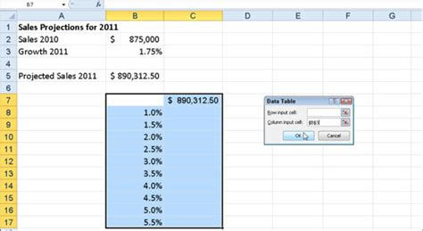 How To Make A Data Table by How To Create A One Variable Data Table In Excel 2010
