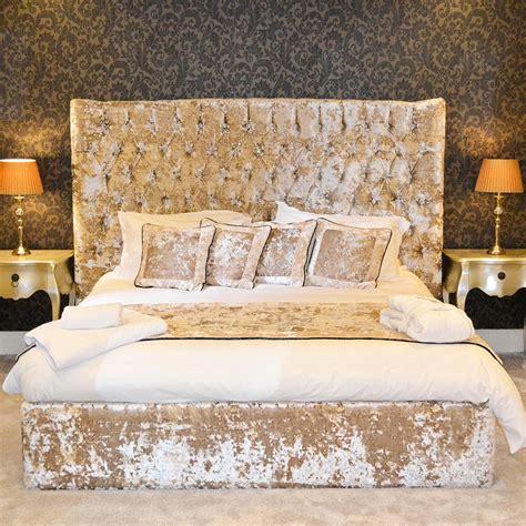bespoke reina ft curved crushed velvet bed frame
