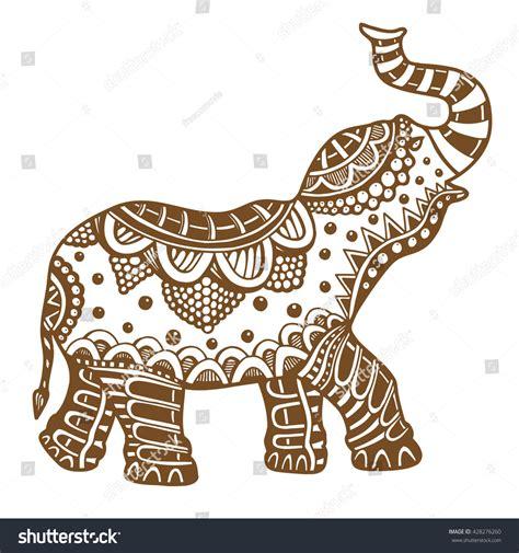 indian elephant doodle brown indian elephant doodle stock illustration