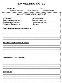 iep report sle iep meeting note form by chelsea smith teachers pay teachers
