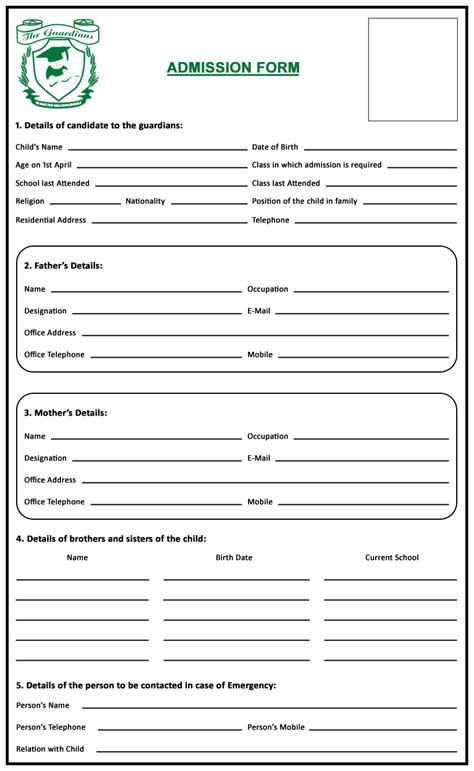 hospital admission form template admission form